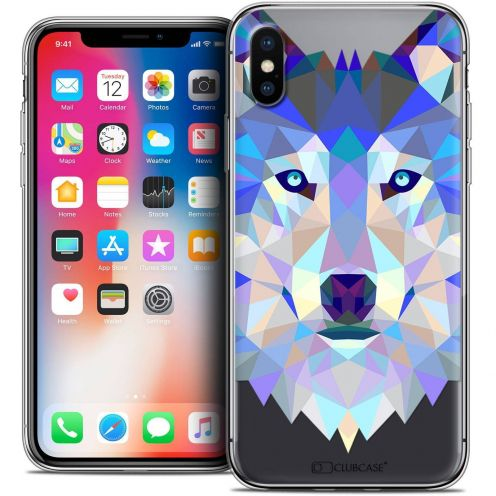 """Coque Crystal Gel Apple iPhone Xs / X (5.8"""") Extra Fine Polygon Animals - Loup"""