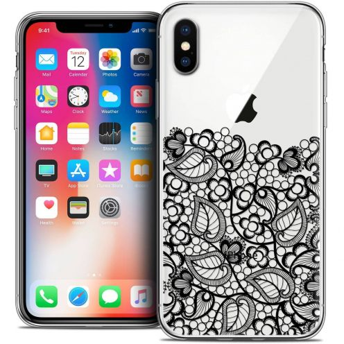 "Coque Crystal Gel Apple iPhone Xs / X (5.8"") Extra Fine Spring - Bas dentelle Noir"