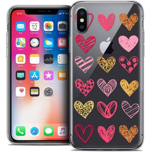 "Coque Crystal Gel Apple iPhone Xs / X (5.8"") Extra Fine Sweetie - Doodling Hearts"