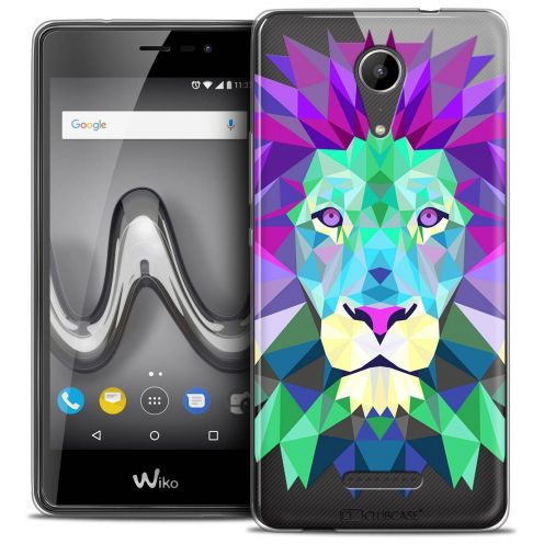 """Coque Crystal Gel Wiko Tommy 2 (5"""") Extra Fine Polygon Animals - Lion"""
