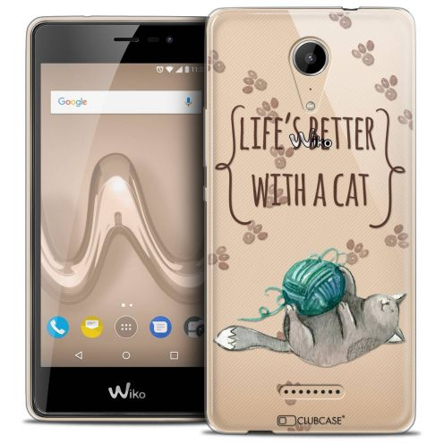 """Coque Crystal Gel Wiko Tommy 2 (5"""") Extra Fine Quote - Life's Better With a Cat"""