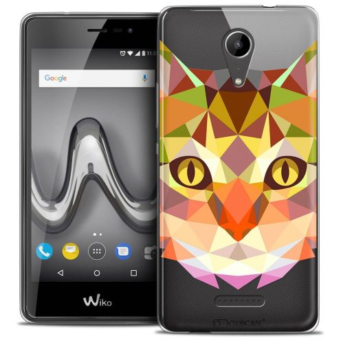 """Coque Crystal Gel Wiko Tommy 2 (5"""") Extra Fine Polygon Animals - Chat"""