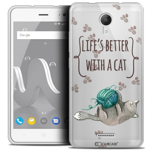 "Coque Crystal Gel Wiko Jerry 2 (5"") Extra Fine Quote - Life's Better With a Cat"