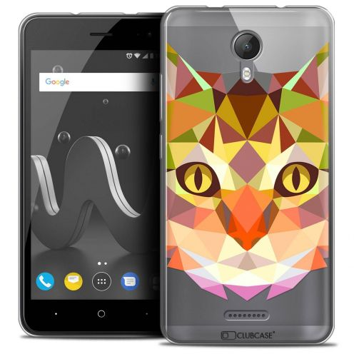 "Coque Crystal Gel Wiko Jerry 2 (5"") Extra Fine Polygon Animals - Chat"