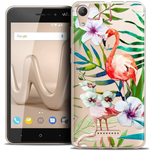 "Coque Crystal Gel Wiko Lenny 4 (5"") Extra Fine Watercolor - Tropical Flamingo"