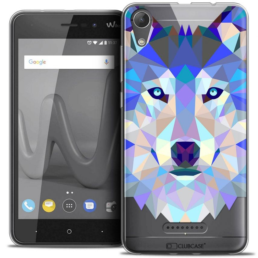 """Coque Crystal Gel Wiko Lenny 4 (5"""") Extra Fine Polygon Animals - Loup"""