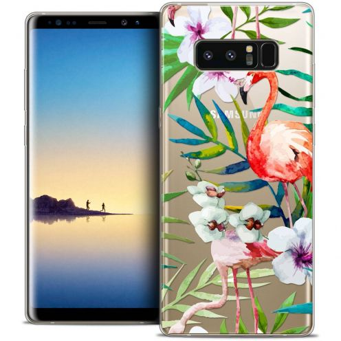 "Coque Crystal Gel Samsung Galaxy Note 8 (6.3"") Extra Fine Watercolor - Tropical Flamingo"