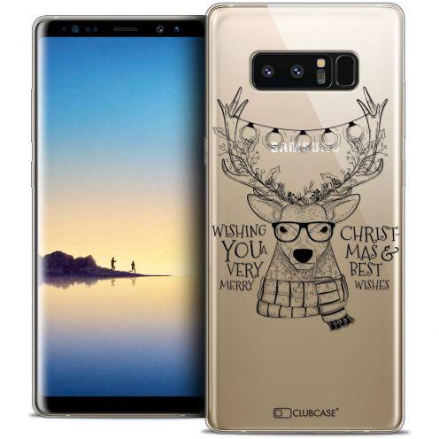 "Coque Crystal Gel Samsung Galaxy Note 8 (6.3"") Extra Fine Noël 2017 - Cerf Hipster"