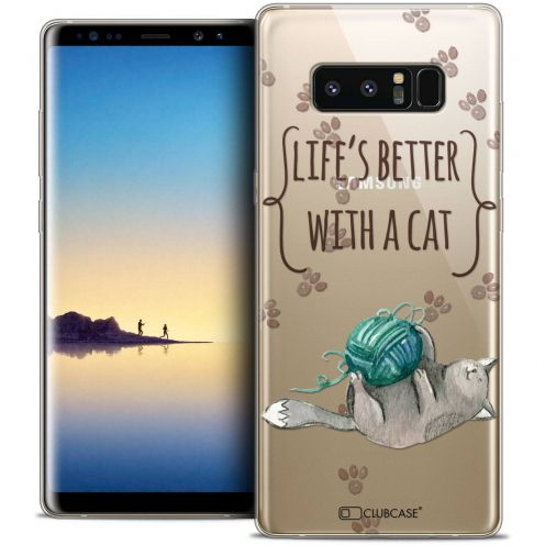 "Coque Crystal Gel Samsung Galaxy Note 8 (6.3"") Extra Fine Quote - Life's Better With a Cat"