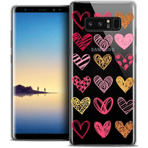 "Coque Crystal Gel Samsung Galaxy Note 8 (6.3"") Extra Fine Sweetie - Doodling Hearts"