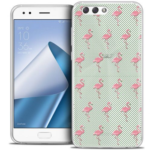 "Coque Crystal Gel Asus Zenfone 4 ZE554KL (5.5"") Extra Fine Pattern - Les flamants Roses Dots"