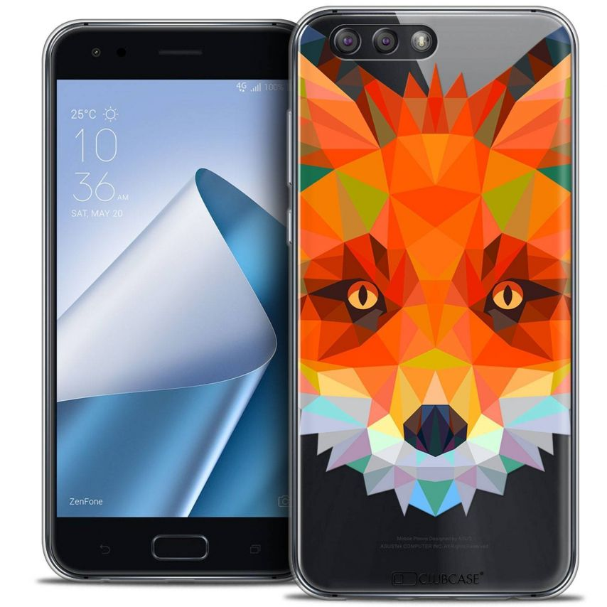 "Coque Crystal Gel Asus Zenfone 4 ZE554KL (5.5"") Extra Fine Polygon Animals - Renard"