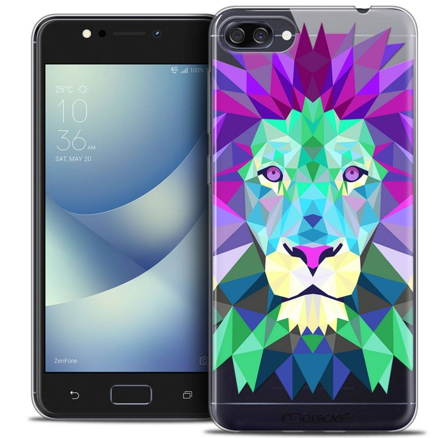 "Coque Crystal Gel Asus Zenfone 4 MAX ZC520KL (5.2"") Extra Fine Polygon Animals - Lion"