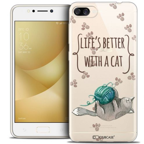 """Coque Crystal Gel Asus Zenfone 4 MAX ZC520KL (5.2"""") Extra Fine Quote - Life's Better With a Cat"""