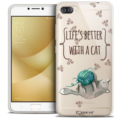 """Coque Crystal Gel Asus Zenfone 4 MAX PLUS / Pro ZC554KL (5.5"""") Extra Fine Quote - Life's Better With a Cat"""