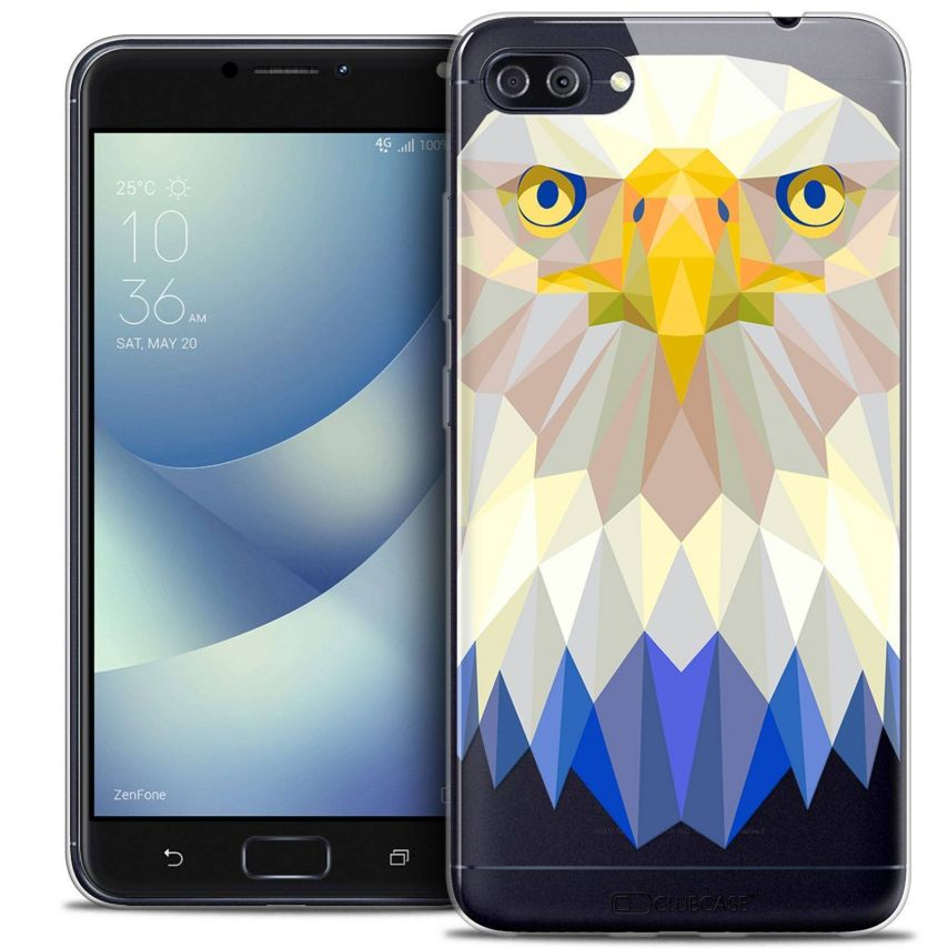 "Coque Crystal Gel Asus Zenfone 4 MAX PLUS / Pro ZC554KL (5.5"") Extra Fine Polygon Animals - Aigle"