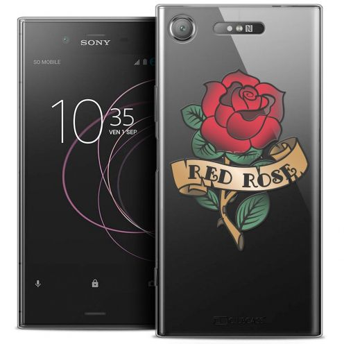 "Coque Crystal Gel Sony Xperia XZ1 (5.2"") Extra Fine Tatoo Lover - Red Rose"