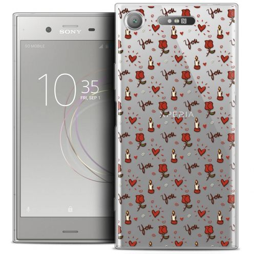 "Coque Crystal Gel Sony Xperia XZ1 (5.2"") Extra Fine Love - Bougies et Roses"