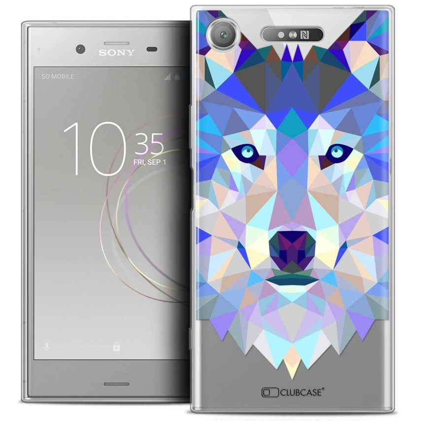"Coque Crystal Gel Sony Xperia XZ1 (5.2"") Extra Fine Polygon Animals - Loup"