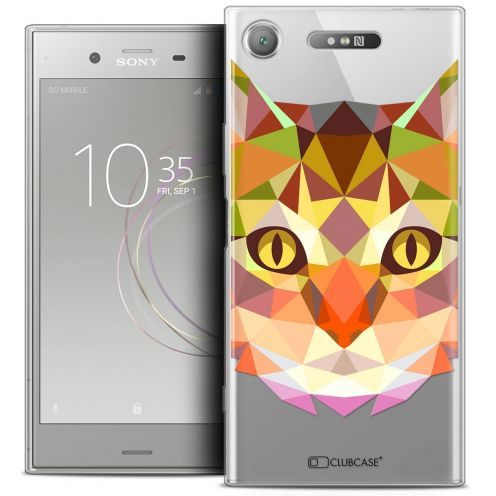 "Coque Crystal Gel Sony Xperia XZ1 (5.2"") Extra Fine Polygon Animals - Chat"