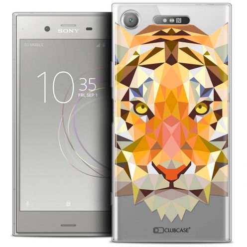 "Coque Crystal Gel Sony Xperia XZ1 (5.2"") Extra Fine Polygon Animals - Tigre"