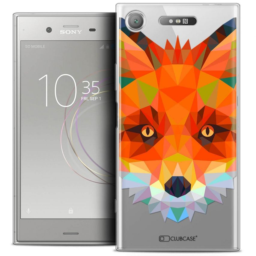 "Coque Crystal Gel Sony Xperia XZ1 (5.2"") Extra Fine Polygon Animals - Renard"