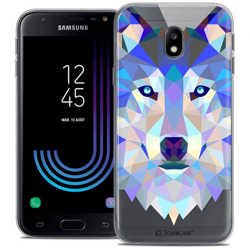 "Coque Crystal Gel Samsung Galaxy J3 2017 J320 (5"") Extra Fine Polygon Animals - Loup"