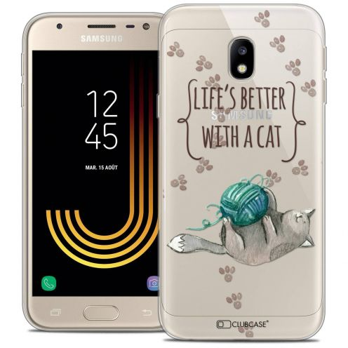 "Coque Crystal Gel Samsung Galaxy J3 2017 J320 (5"") Extra Fine Quote - Life's Better With a Cat"