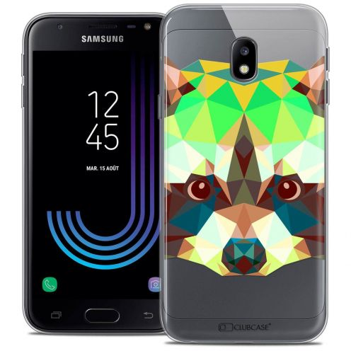 "Coque Crystal Gel Samsung Galaxy J3 2017 J320 (5"") Extra Fine Polygon Animals - Raton Laveur"