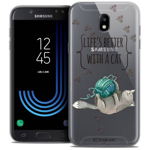 """Coque Crystal Gel Samsung Galaxy J5 2017 J530 (5.2"""") Extra Fine Quote - Life's Better With a Cat"""