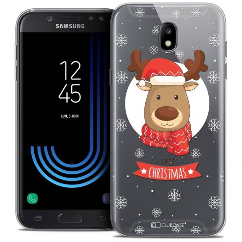 "Coque Crystal Gel Samsung Galaxy J7 2017 J730 (5.5"") Extra Fine Noël 2017 - Cerf à Echarpe"