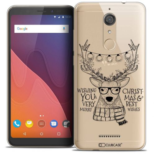 """Coque Crystal Gel Wiko View (5.7"""") Extra Fine Noël 2017 - Cerf Hipster"""