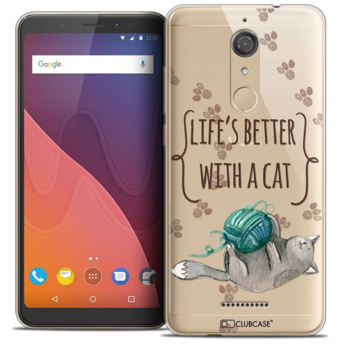 "Coque Crystal Gel Wiko View (5.7"") Extra Fine Quote - Life's Better With a Cat"