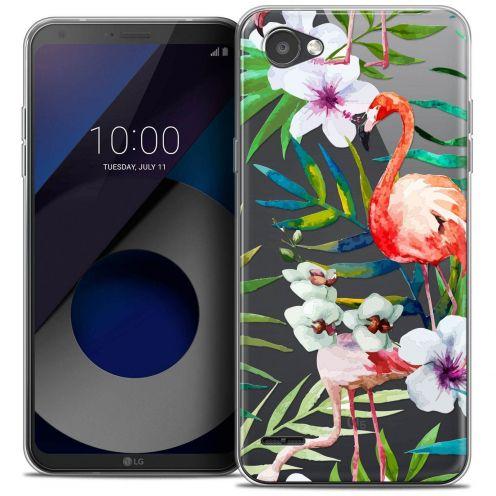 "Coque Crystal Gel LG Q6 (5.5"") Extra Fine Watercolor - Tropical Flamingo"