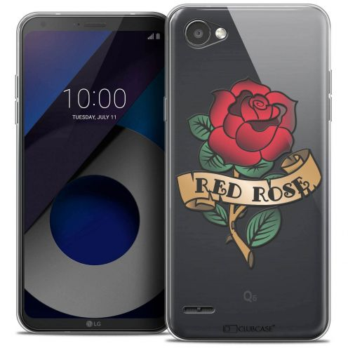 "Coque Crystal Gel LG Q6 (5.5"") Extra Fine Tatoo Lover - Red Rose"