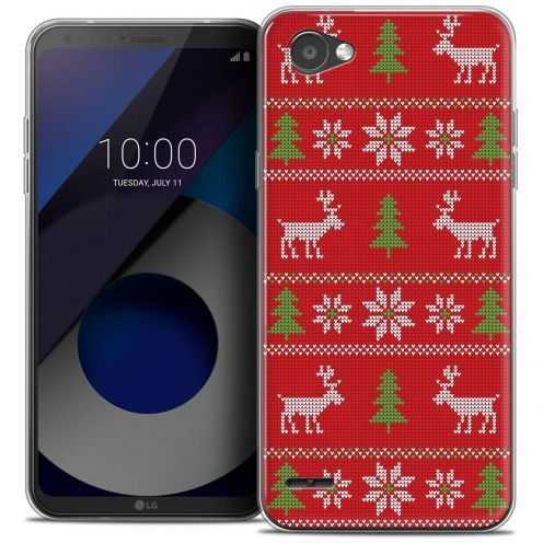 """Coque Crystal Gel LG Q6 (5.5"""") Extra Fine Noël 2017 - Couture Rouge"""