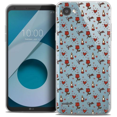 """Coque Crystal Gel LG Q6 (5.5"""") Extra Fine Love - Bougies et Roses"""