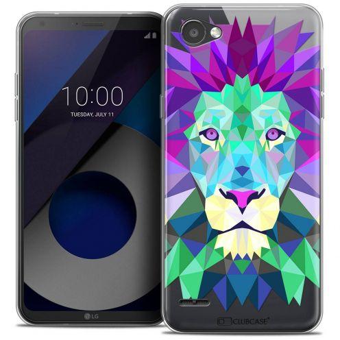 """Coque Crystal Gel LG Q6 (5.5"""") Extra Fine Polygon Animals - Lion"""