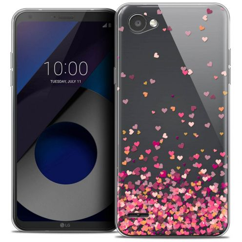 """Coque Crystal Gel LG Q6 (5.5"""") Extra Fine Sweetie - Heart Flakes"""