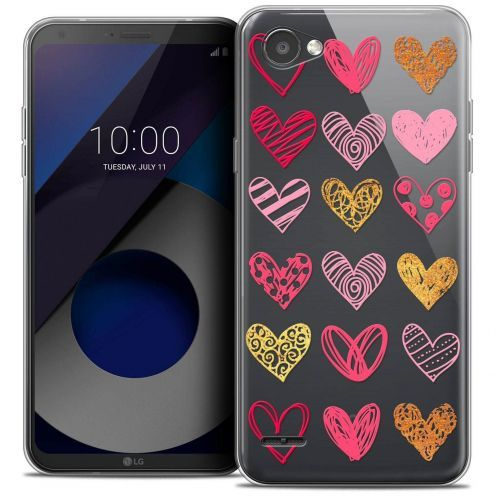 """Coque Crystal Gel LG Q6 (5.5"""") Extra Fine Sweetie - Doodling Hearts"""
