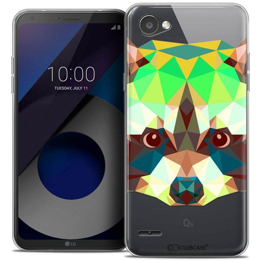 "Coque Crystal Gel LG Q6 (5.5"") Extra Fine Polygon Animals - Raton Laveur"