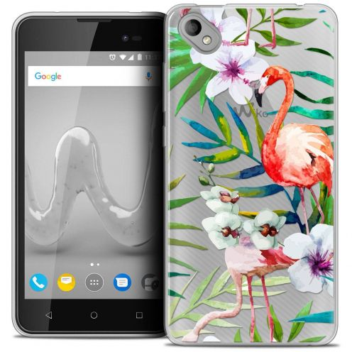 "Coque Crystal Gel Wiko Sunny 2 PLUS (5"") Extra Fine Watercolor - Tropical Flamingo"