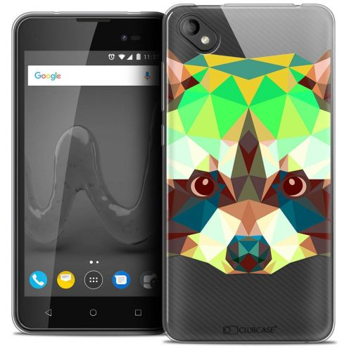 "Coque Crystal Gel Wiko Sunny 2 PLUS (5"") Extra Fine Polygon Animals - Raton Laveur"