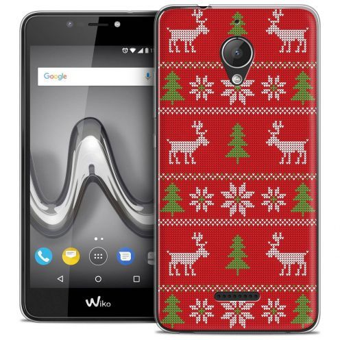 "Coque Crystal Gel Wiko Tommy 2 PLUS (5.5"") Extra Fine Noël 2017 - Couture Rouge"