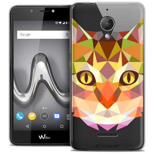 """Coque Crystal Gel Wiko Tommy 2 PLUS (5.5"""") Extra Fine Polygon Animals - Chat"""