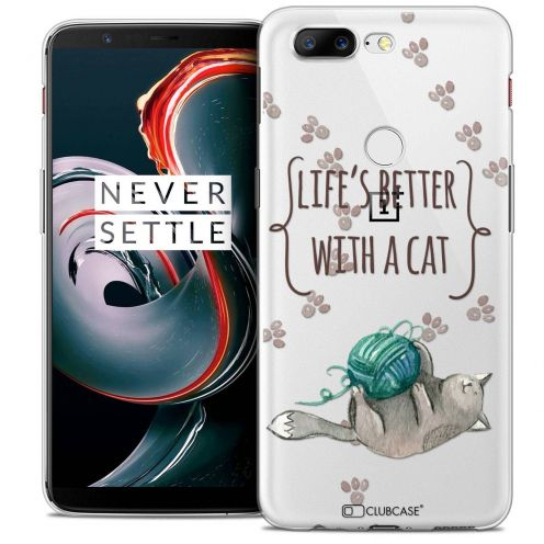 """Coque Crystal Gel OnePlus 5T (6"""") Extra Fine Quote - Life's Better With a Cat"""