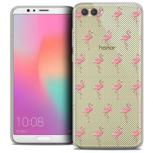 "Coque Crystal Gel Honor View 10 / V10 (6"") Extra Fine Pattern - Les flamants Roses Dots"