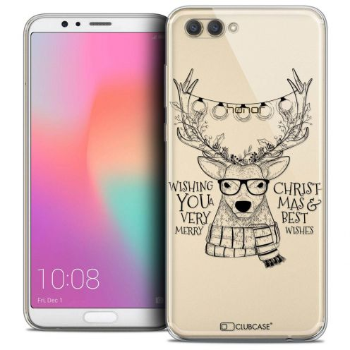 """Coque Crystal Gel Honor View 10 / V10 (6"""") Extra Fine Noël 2017 - Cerf Hipster"""