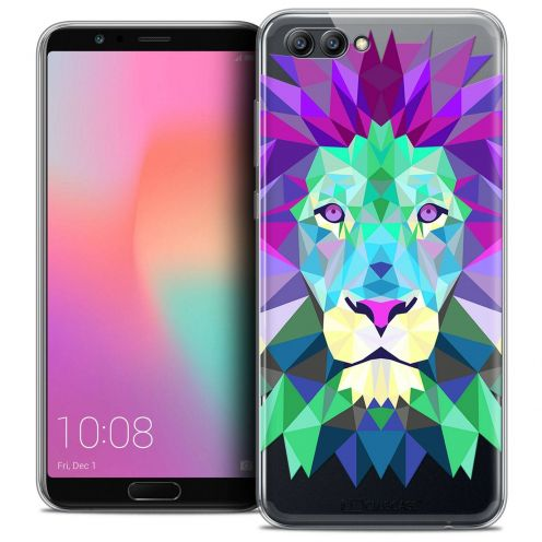 """Coque Crystal Gel Honor View 10 / V10 (6"""") Extra Fine Polygon Animals - Lion"""