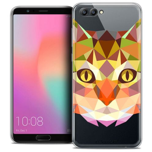 """Coque Crystal Gel Honor View 10 / V10 (6"""") Extra Fine Polygon Animals - Chat"""